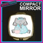 BLUE ELEPHANT COMPACT LADIES METAL HANDBAG GIFT MIRROR